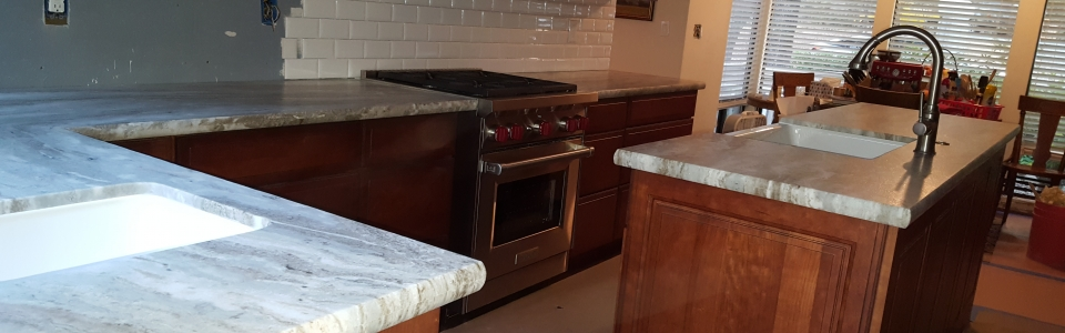 Granite Leather Finish Kitchen Countertops with Pensil Edge